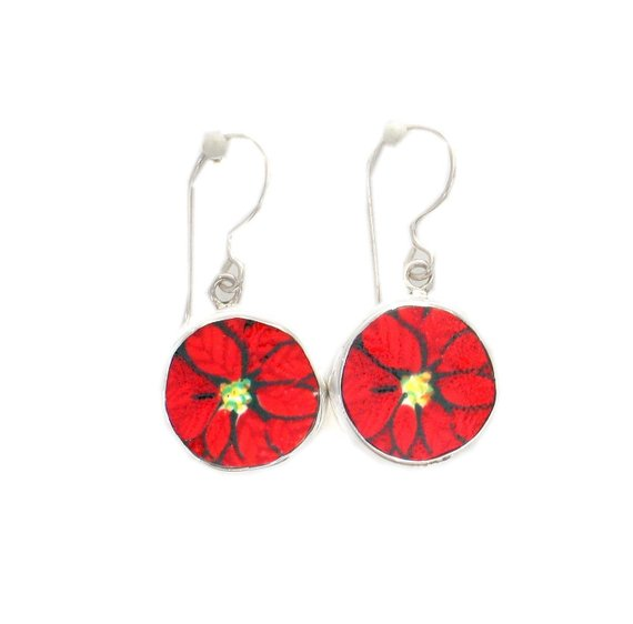 Broken China Jewelry Christmas Red Poinsettia Flower Sterling Circle Earrings