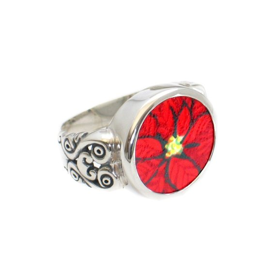 Broken China Jewelry Christmas Red Poinsettia Sterling Ring