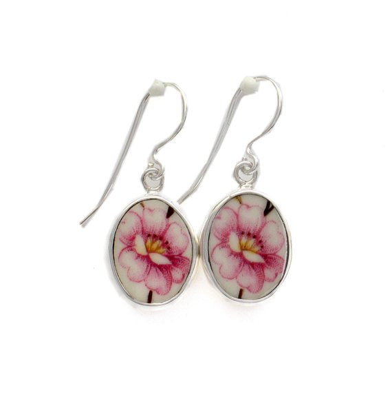Broken China Jewelry Pink Peony Flower Sterling Oval Earrings