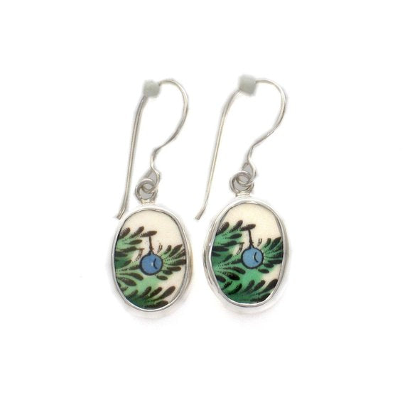 Broken China Jewelry Spode Christmas Tree Blue Ornaments Sterling Dangle Earrings