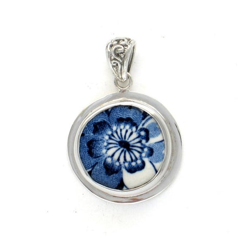 Broken China Jewelry Johnson Brothers Indies Blue Flower Blossom Circle Sterling Pendant