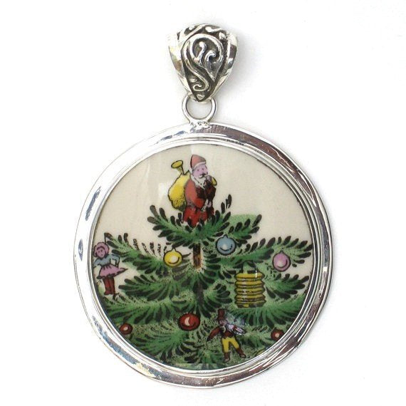 Spode Christmas Tree.Broken China Jewelry Spode Christmas Tree Santa Large Circle Sterling Pendant