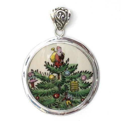 Broken China Jewelry Spode Christmas Tree Santa Large Circle Sterling Pendant