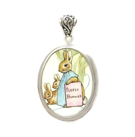 Broken China Jewelry Beatrix Potter Peter Rabbit Flopsy Bunny Sterling Pendant