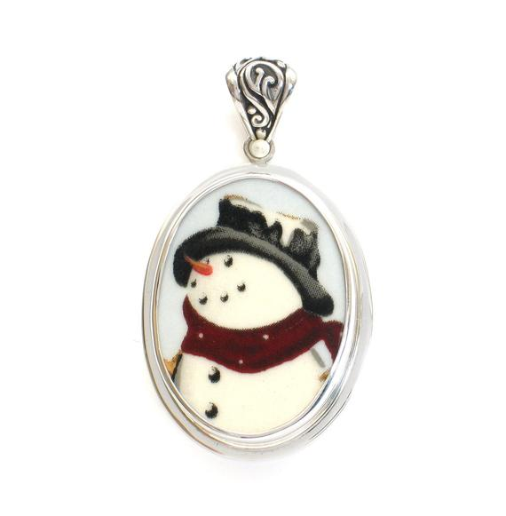 Broken China Jewelry Winter Christmas Snowman Snow Man Close Up Sterling Oval Pendant