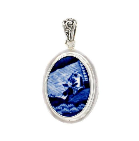Broken China Jewelry Spode Blue Italian People at the Rivers Edge A Sterling Pendant