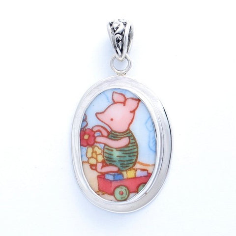 Royal Doulton Classic Pooh Piglet with Toys and Flowers Sterling Oval Pendant