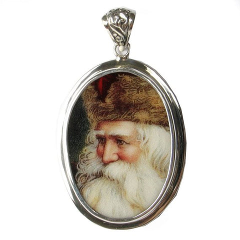 Broken China Jewelry Vintage Victorian Christmas Santa Large Sterling Pendant
