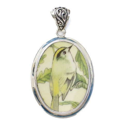 Broken China Jewelry Wedgwood Garden Birds Goldcrest Bird Large Sterling Pendant