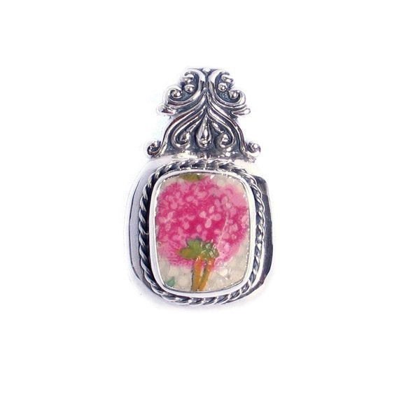 Broken China Jewelry Pink Hydrangea Grimwades Old Cottage Chintz Sterling Pendant