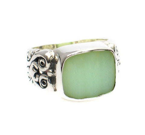 Broken China Jewelry Fire King Pale Green Jadeite Rectangle Sterling Ring