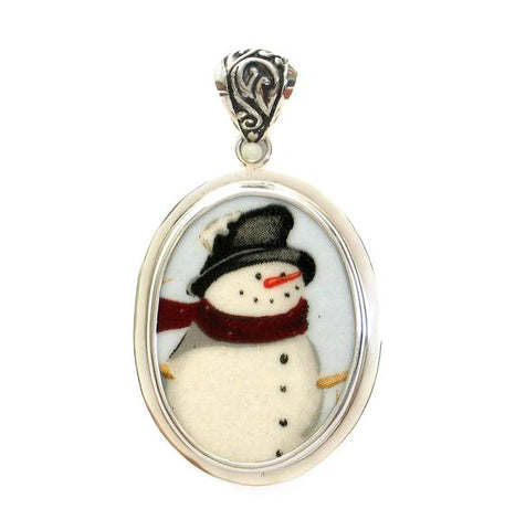 Broken China Jewelry Winter Christmas Snowman Snow Man w Hat & Scarf Sterling Oval Pendant