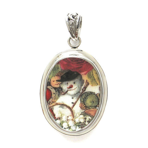 Broken China Jewelry Victorian Christmas Winter Snowman Snow man Sterling Oval Pendant