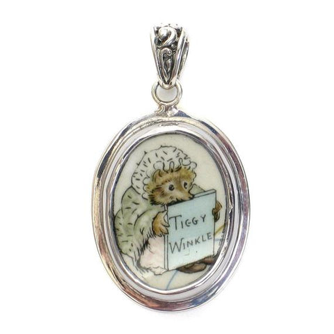 Broken China Jewelry Beatrix Potter Ms Tiggy Winkle Sterling Pendant