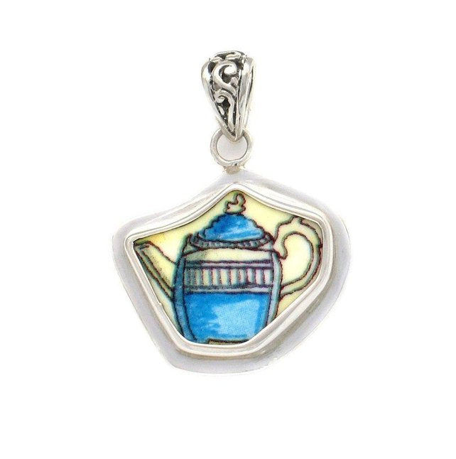 Broken China Jewelry Duchess Teapot Blue Tea Pot Sterling Pendant