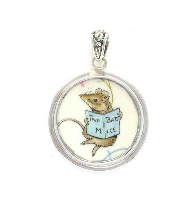 Broken China Jewelry Beatrix Potter Two Bad Mice Book Mouse Sterling Pendant