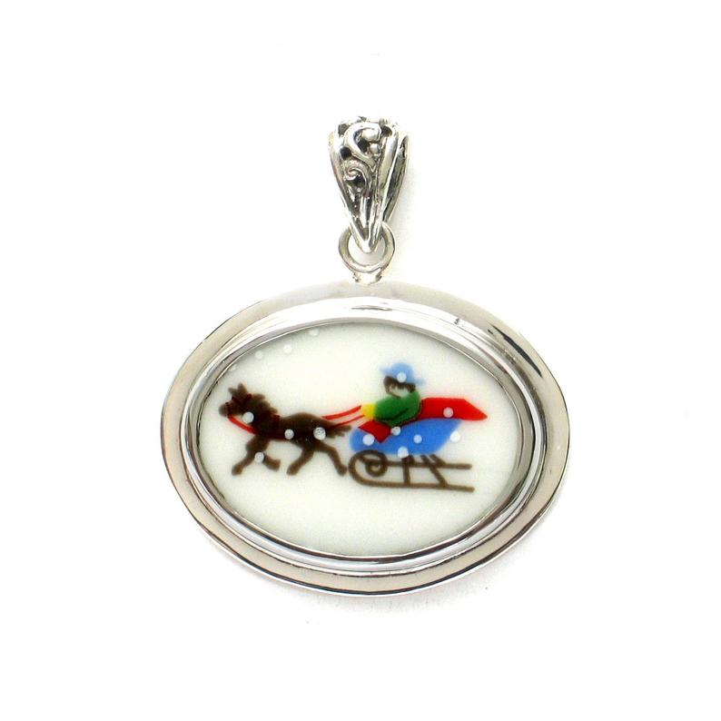 Broken China Jewelry Sleighride Christmas Winter Sled Horizontal Oval Sterling Pendant