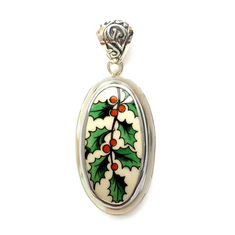 Broken China Jewelry Spode Christmas Holly Sterling Tall Oval Pendant