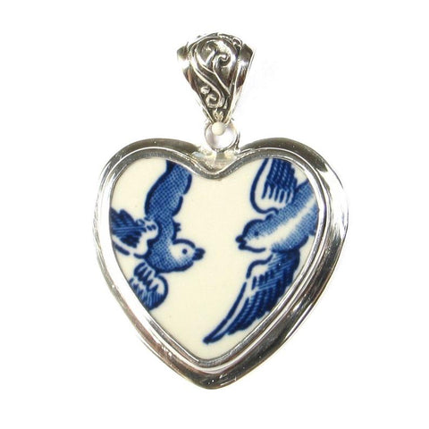 Broken China Jewelry Blue Willow Love Birds Sterling Heart Pendant