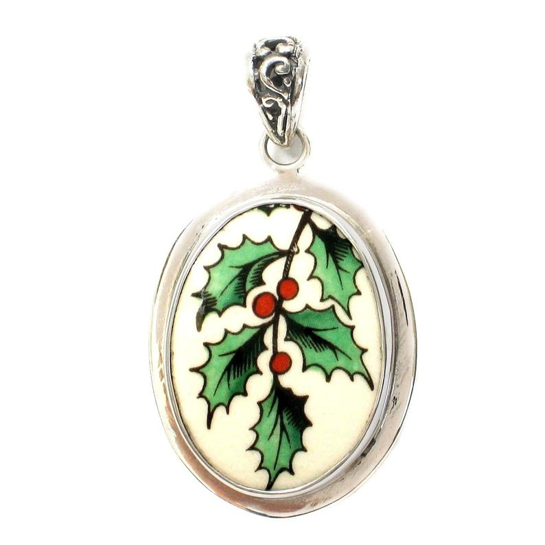 Broken China Jewelry Spode Christmas Holly Sterling Oval Pendant