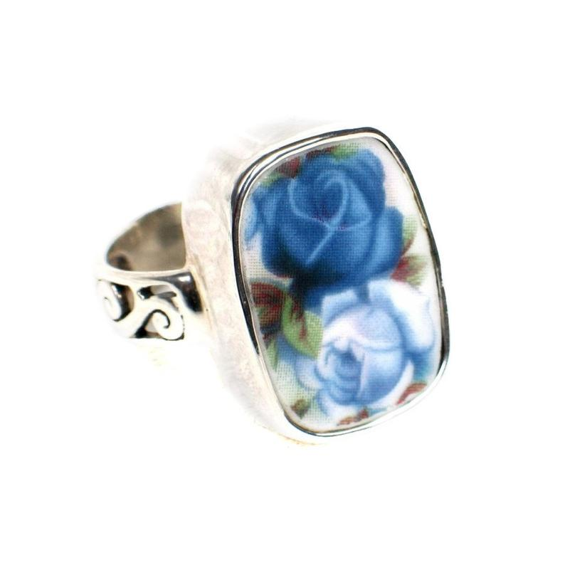 Broken China Jewelry Moonlight Roses Light Dark Blue Double Rose Sterling Ring