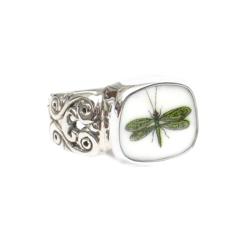 Broken China Jewelry Portmeirion Botanic Garden Green Dragonfly Ring