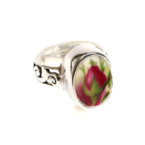 Size 8 - Broken China Jewelry Old Country Roses Flame Bud Oval Slim Band Sterling Silver Ring