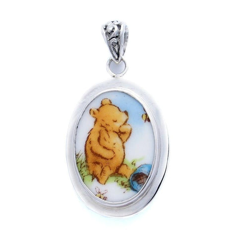 Broken China Jewelry Classic Pooh Bear Winnie The Pooh with Empty Honey Pot Sterling Pendant