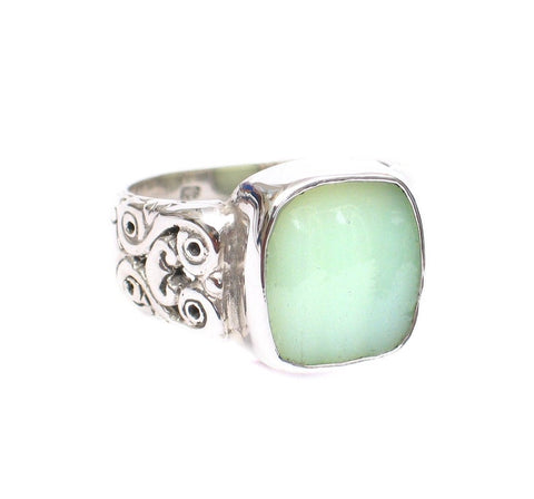 SIZE 6 Broken China Jewelry Fire King Jadeite Verticle Rectangle Sterling Carved Sides Ring
