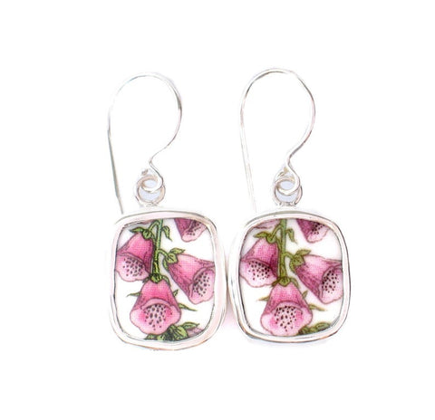 Broken China Jewelry Portmeirion Botanic Garden Pink Foxglove Flower Earrings