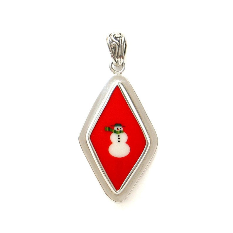 Broken China Jewelry Mod Retro Red Snowman Snow Man Sterling Pendant