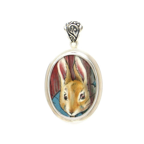 Broken China Jewelry Beatrix Potter Peter Rabbit Close Up Sterling Oval Pendant