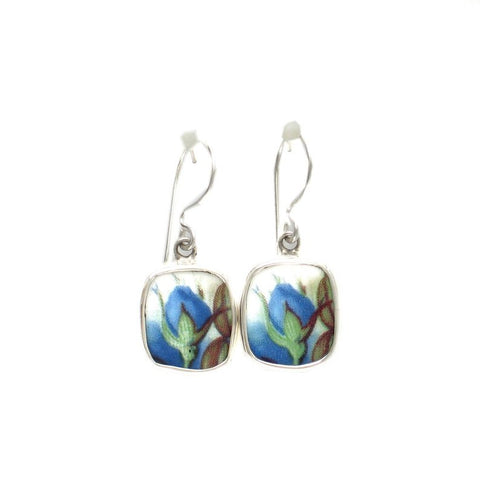 Broken China Jewelry Moonlight Roses Blue Flame Rose Bud Sterling Dangle Earrings