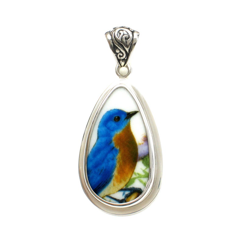 Broken China Jewelry Bluebird Blue Garden Bird Sterling Tall Drop Pendant