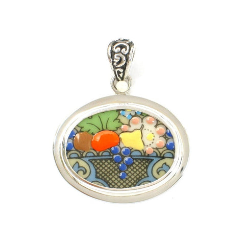 Broken China Jewelry Autumn Fruit Basket Sterling Silver Horizontal Oval Pendant