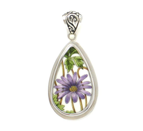 Broken China Jewelry Botanic Garden Purple Flower Tall Sterling Drop Pendant