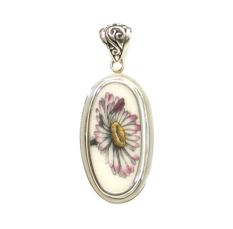 Broken China Jewelry Portmeirion Botanic Garden Daisy Flower Sterling Tall Oval Pendant
