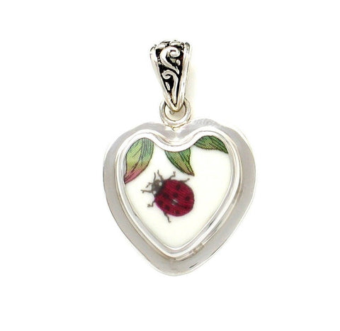 Broken China Jewelry Portmeirion Botanic Garden Lady Bug Ladybug Sterling Heart Pendant