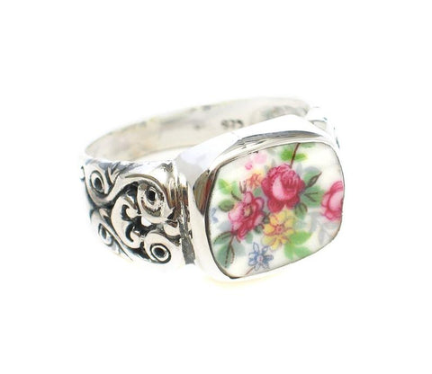 Broken China Jewelry Vienna Rose Garden Pink Roses Horizontal Sterling Ring