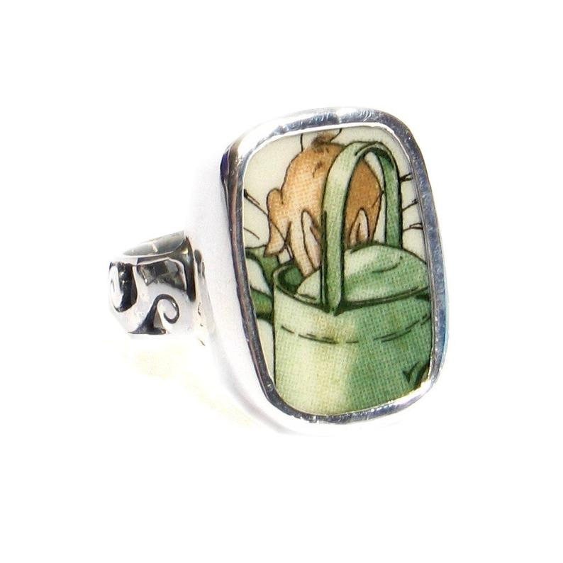 SIZE 9 Broken China Jewelry Beatrix Potter Peter Rabbit Watering Can Sterling Ring