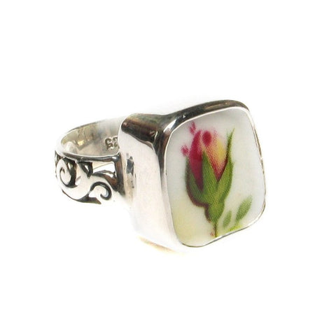 Size 8 Broken China Jewelry Old Country Roses Dark Pink Rosebud Sterling Ring