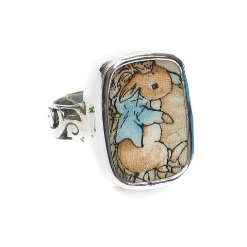 SIZE 8 Broken China Jewelry Beatrix Potter Peter Rabbit Net Sterling Ring