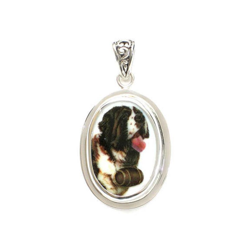 Broken China Jewelry Saint St Bernard Dog Sterling Oval Pendant