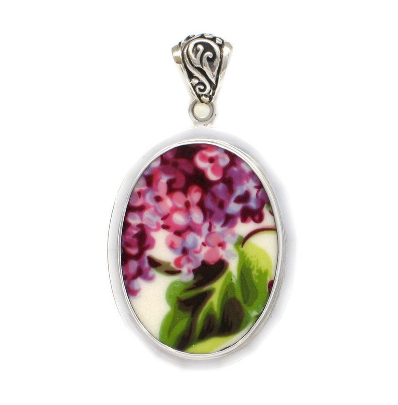 Broken China Jewelry Purple Lilac Flowers with Leaf and Stem A Sterling Oval Pendant
