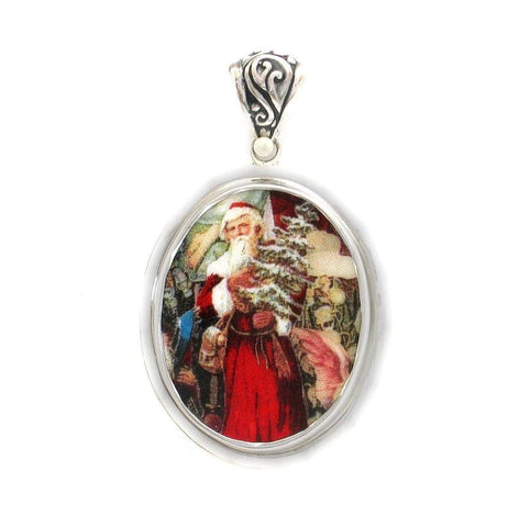 Broken China Jewelry Victorian Christmas Santa with Christmas Tree Sterling Large Oval Pendant