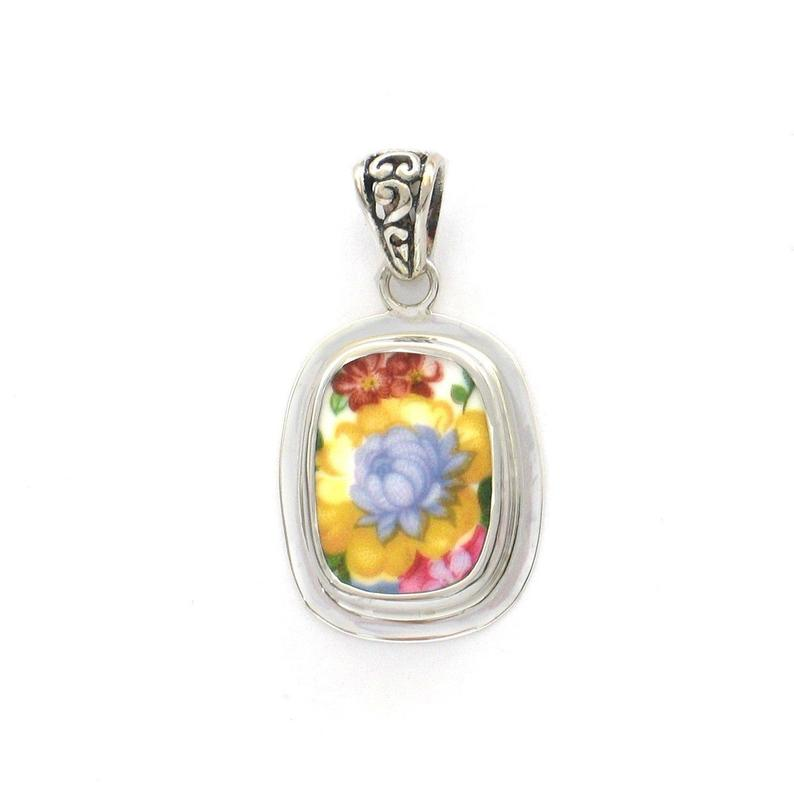 Broken China Jewelry Royal Albert Lady Carlyle Yellow and Blue Flower Sterling Small Rectangle Pendant