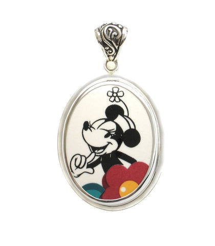 Broken China Jewelry Minnie Mouse Smiling Sterling Oval Pendant
