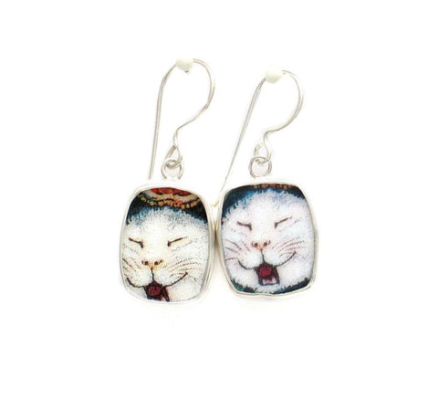 Broken China Jewelry Kitty Cat F White Cat Meowing Sterling Dangle Earrings