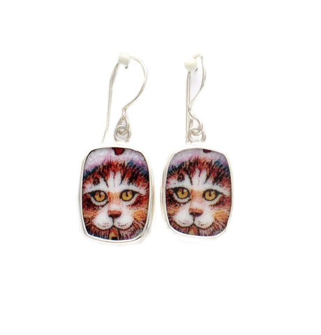 Broken China Jewelry Kitty Cat H Golden Eyes Sterling Dangle Earrings