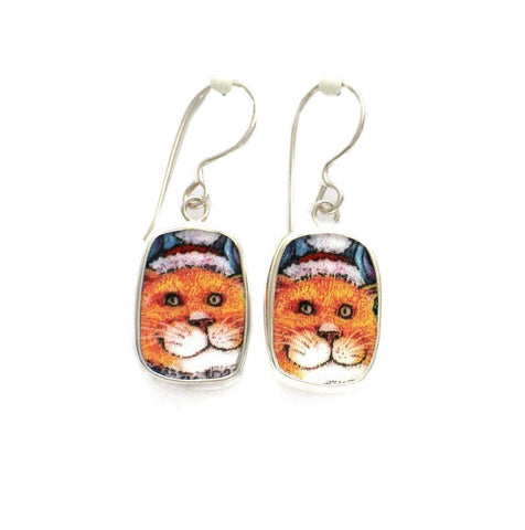 Broken China Jewelry Kitty Cat K Big Orange Sterling Dangle Earrings